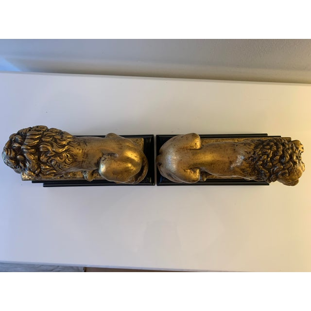 """Wood Vintage Gilt """"Borghese"""" Lion Bookends - a Pair For Sale - Image 7 of 11"""