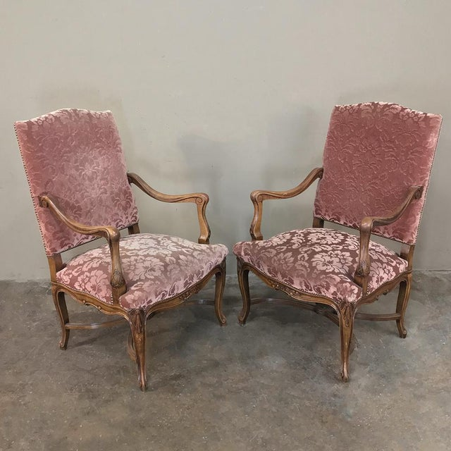 Late 19th Century Pair Armchairs, 19th Century French Louis XV in Walnut For Sale - Image 5 of 13