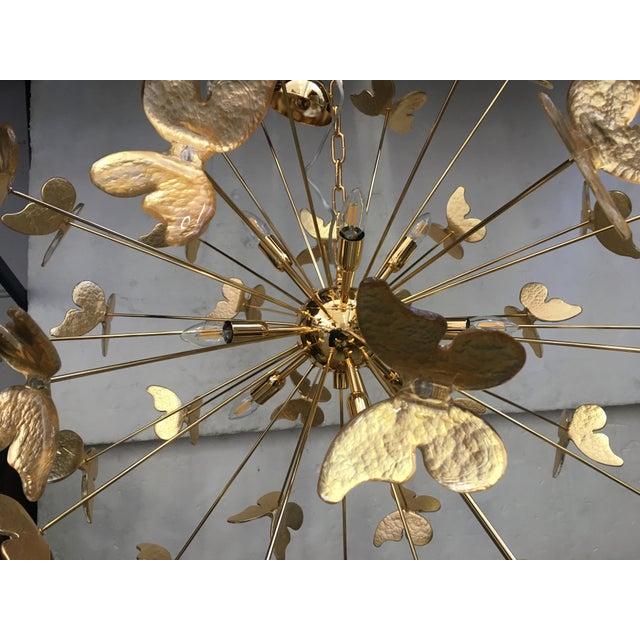 24 Karat Gold Butterfly Sputnik Chandelier For Sale - Image 9 of 10