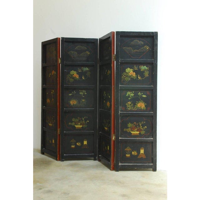Chinese Coromandel Style Two-Sided Lacquer Screen For Sale - Image 10 of 13