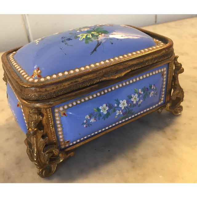Late 19th Century 1885 Bronze Gilt and Hand Painted Enameled Cofferette For Sale - Image 5 of 12