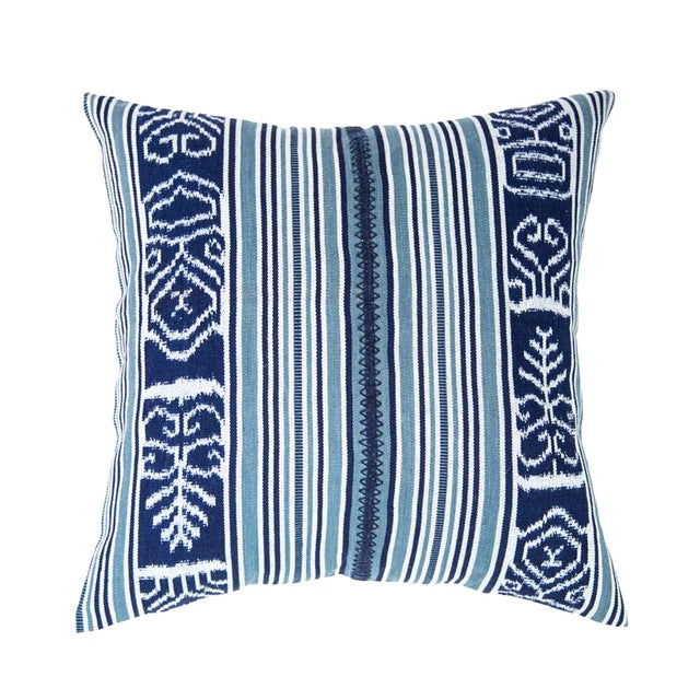 Guatemalan Indigo & Teal Ikat Pillow - Image 1 of 6