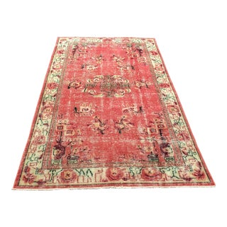 1970s Vintage Turkish Aztec Inspired Handwoven Rug - 4′9″ × 8′ For Sale