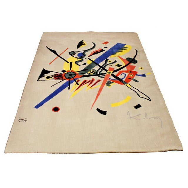 For your consideration is a magnificent, abstract art rug or wall tapestry Inspired by Kandinsky small worlds, made in...