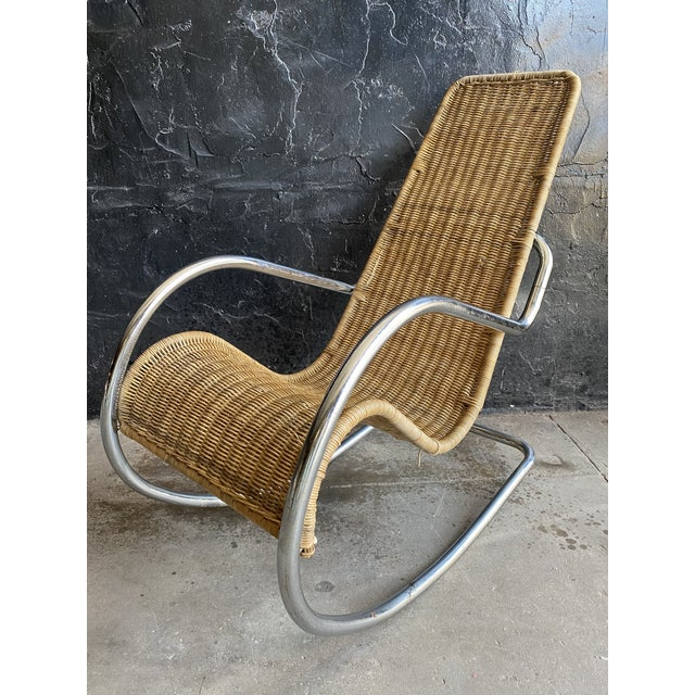 Vintage Woven Chrome & Rattan Italian Rocking Chair For Sale - Image 12 of 12