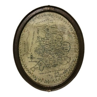 Ca., 1800 Antique Needlework Sampler Map of England and Wales For Sale