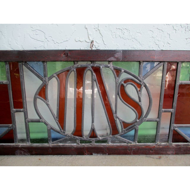 Traditional Large Antique French Leaded Stained Glass Bar Sign Vins For Sale - Image 3 of 10