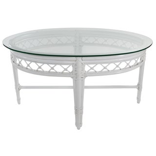 Ficks Reed Trellis White Rattan Coffee Table For Sale