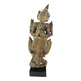 Late 19th Century Antique Wood 'Teppanom' Temple Angel Statue (Thailand) For Sale