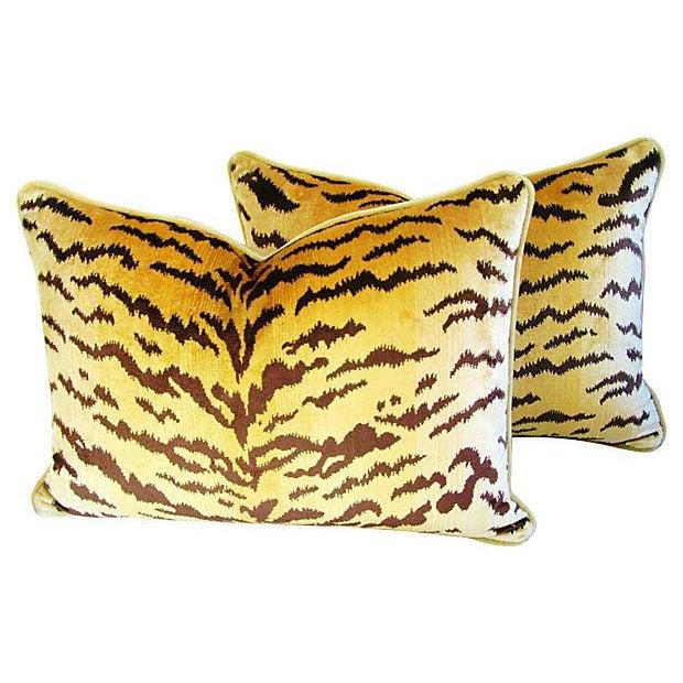 Custom Scalamandre Silk Le Tiger Pillows - A Pair - Image 1 of 6