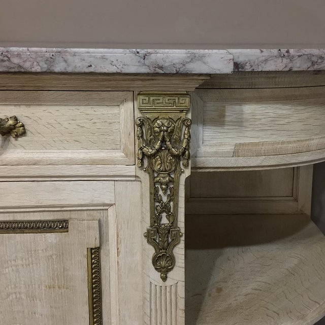 19th Century French Louis XVI Marble Top Stripped Oak Buffet With Ormolu Bronze For Sale - Image 9 of 12