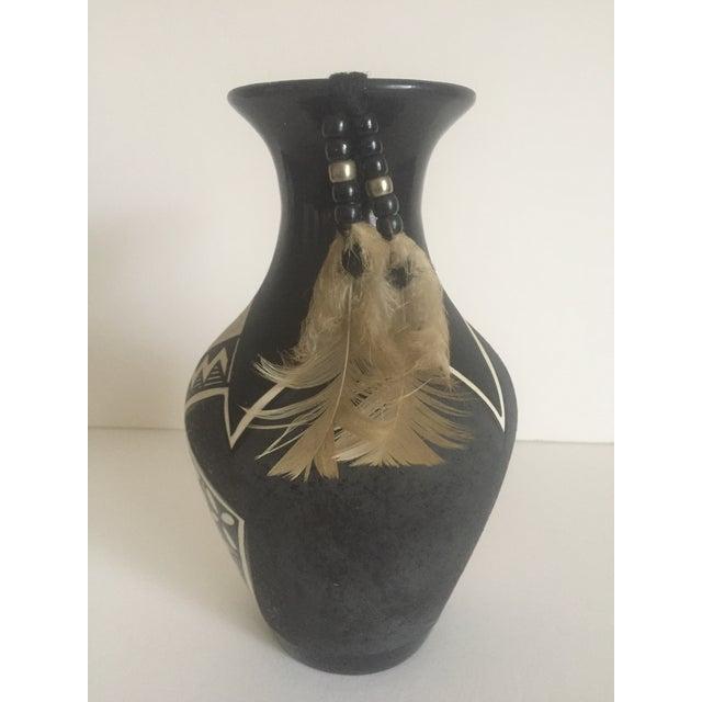 Vintage Native American Black White Ceramic Feather Vase Chairish