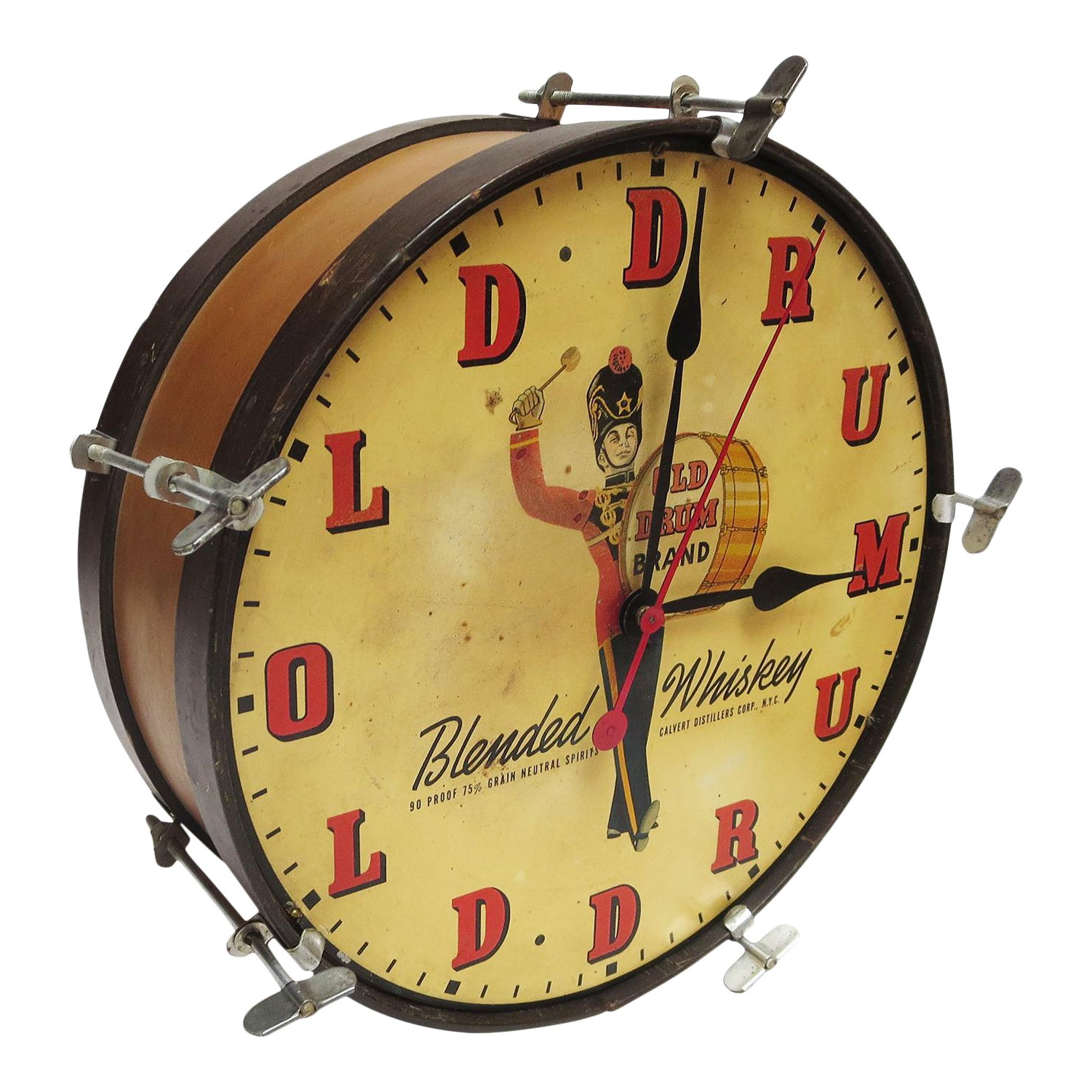 1950\'s Old Drum Whiskey Advertising Electric Wall Clock | Chairish