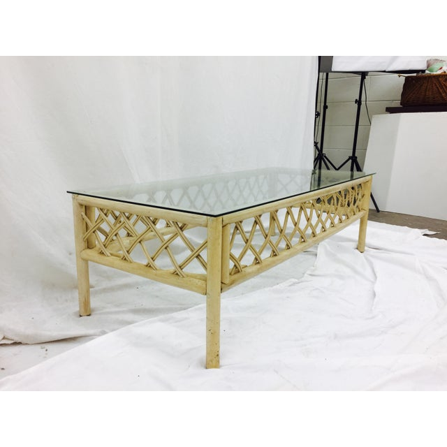 Vintage Ficks Reed Rattan & Glass Coffee Table For Sale - Image 5 of 7