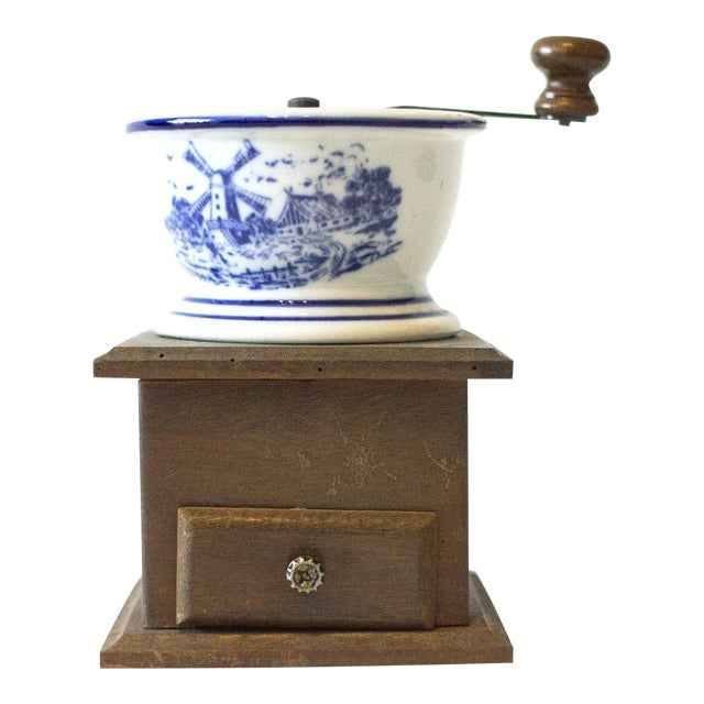 Antique Coffee Mill with Ceramic Bowl For Sale