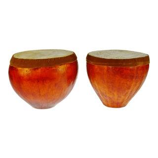 Vintage Kenyan Gourd Drums - a Pair For Sale