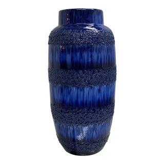 1970s Vintage German Blue Glazed Floor Vase For Sale