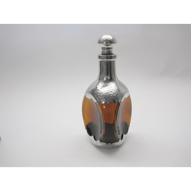 Amber Glass & Pewter European Pinch Bottle Decanter - Image 3 of 6