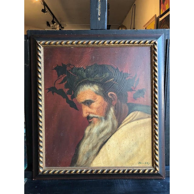 """Head of Bacchus"" Oil Painting by Ignacio Beller For Sale - Image 10 of 10"