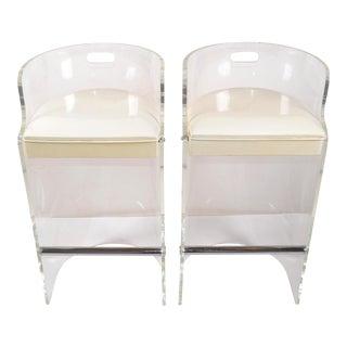 Charles Hollis Jones Lucite, Chrome & White Seat Bar Stools Hills Mfg - Pair For Sale