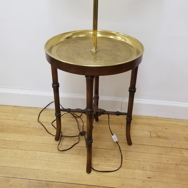 1970s Faux Bamboo Wood & Etched Brass Table Floor Lamp For Sale - Image 5 of 8