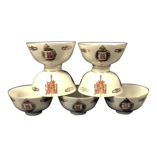 Taiwanese Rice or Soup Bowls With Lantern Pattern - Set of 7 For Sale