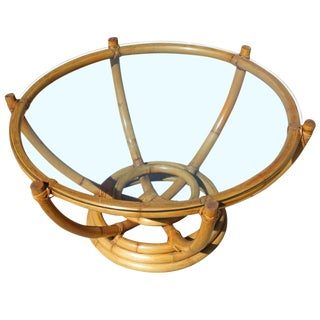 Restored Six-Pole Rattan Coffee Table With Floating Glass Top For Sale