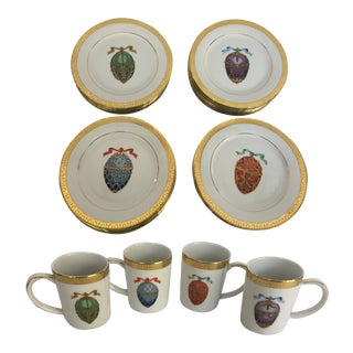 1990s Royal Gallery Gold Buffet Faberge Egg Plates and Cups, Service for 6 - Set of 48 For Sale