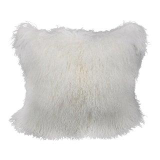 Ivory Mongolian Sheepskin Pillow by Tasha Tarno For Sale