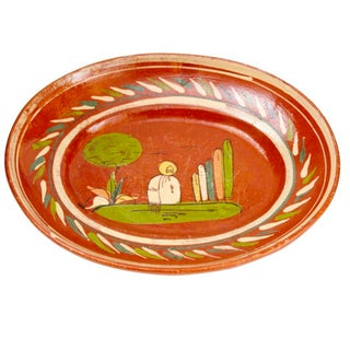Antique 1920s Mexican Art Pottery Platter For Sale
