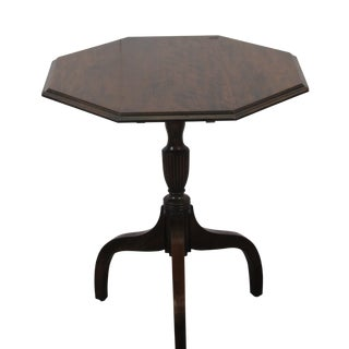 Vintage Mid Century Traditional Octagon Lift Top Table For Sale