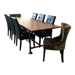 Transitional Cb2 Dining Set - 9 Pieces For Sale