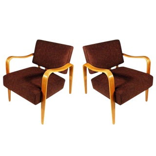 Mid-Century Modern Thonet Bent Plywood Armchairs - A Pair For Sale