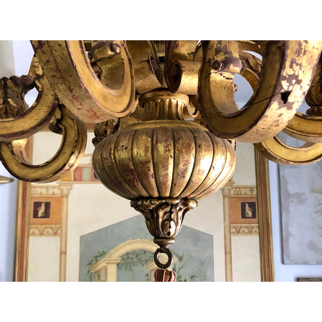 Traditional Mid 19th Century Italian Carved Gilt Wood Chandelier For Sale - Image 3 of 13