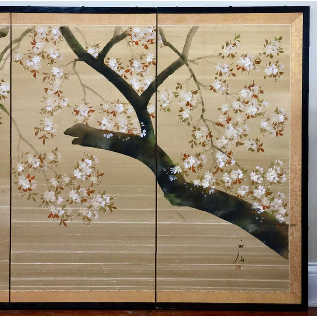 Green Vintage Four Panel Hand Painted Byobu Folding Screen of Cherry Blossoms For Sale - Image 8 of 12
