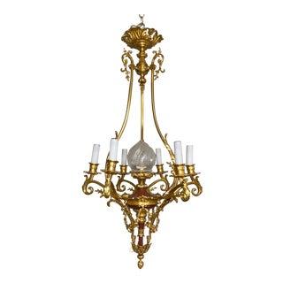 Circa 1880 French Rococo Style Dore Bronze Chandelier For Sale