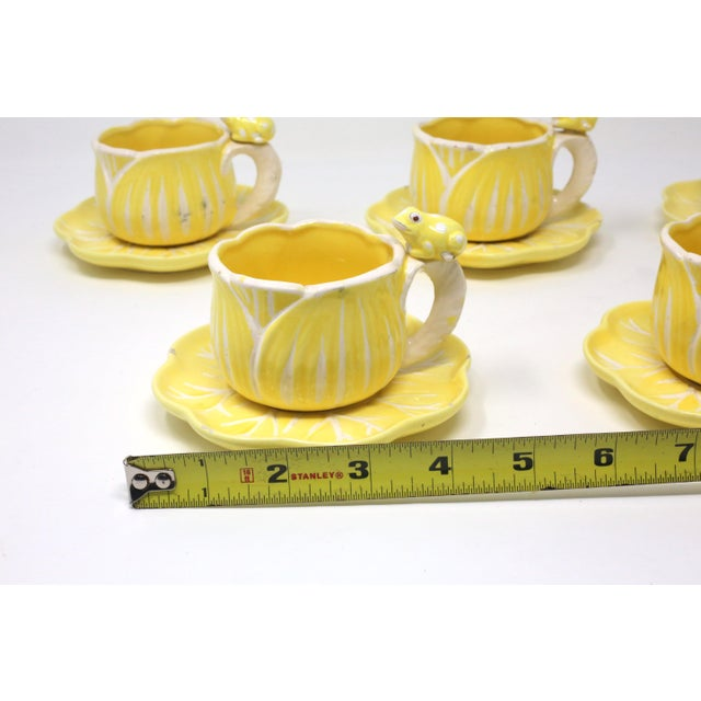 Vintage Hand-Painted Yellow and White Flower and Frog Espresso Cups and Saucers - Set of 12 For Sale - Image 12 of 13