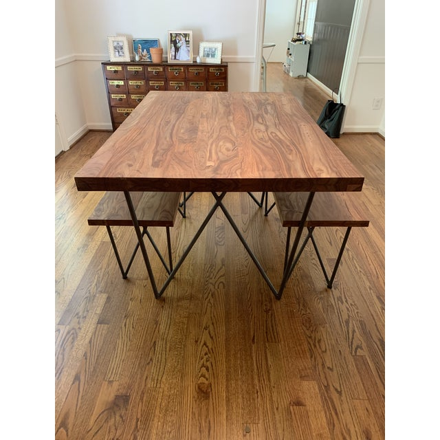 Peachy Rustic Cb2 Dylan Dining Table And Bench Set 2 Pieces Caraccident5 Cool Chair Designs And Ideas Caraccident5Info