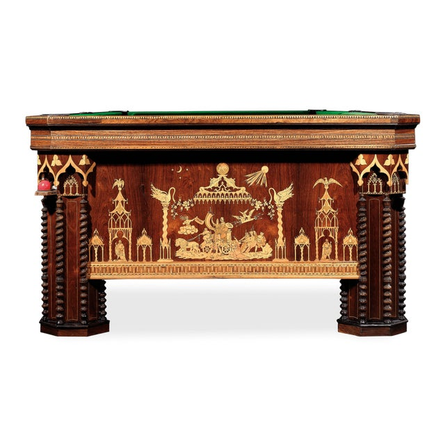 Rosewood French Gothic Revival Billiard Table For Sale - Image 7 of 8