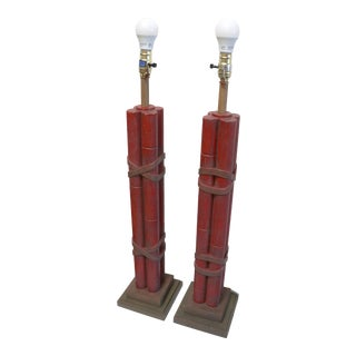 Ceramic Pottery Red Bamboo Effect Tall Lamps- a Pair For Sale