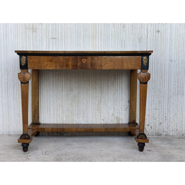 Early 19th Century Antique French Empire Fruitwood Console Table With Drawer, Early 19th Century For Sale - Image 5 of 10