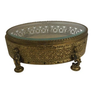 19th Century French Cherub Ormolu and Glass Jewelry Box For Sale
