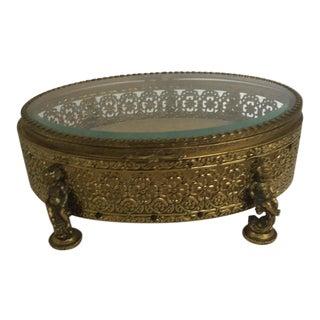 French Cherub Ormolu Filigree Jewelry Box Last Call For Sale