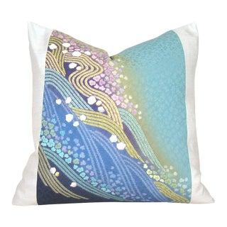 Cascading Rainbow Blossom Japanese Silk Shibori Pillow Cover For Sale