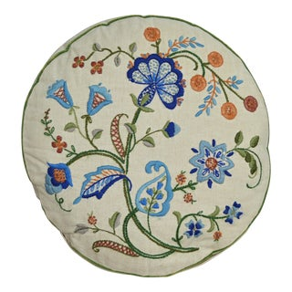 Crewel Work Vintage Throw Pillow For Sale