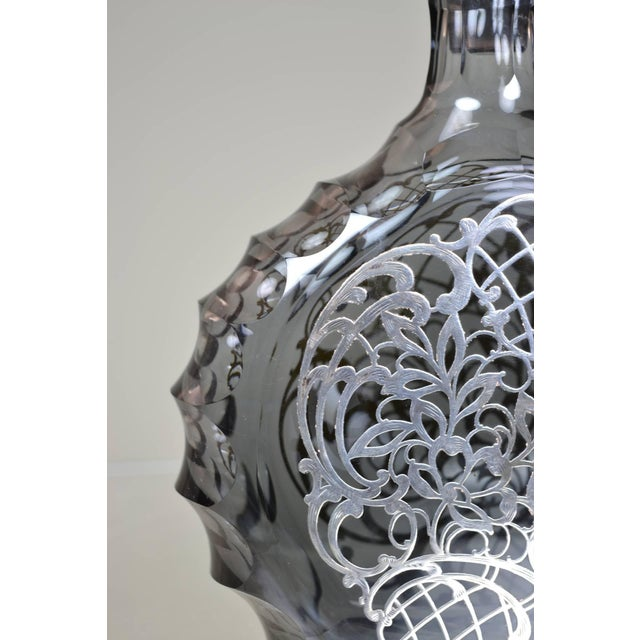 Silver Decorated Crystal Decanter For Sale - Image 4 of 8