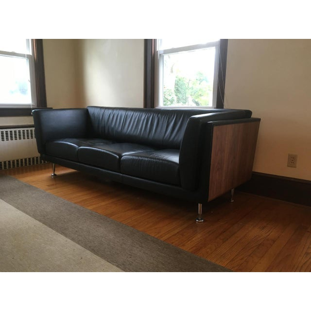 Mid-Century Modern Mid-Century Modern Replica Goetz Black Leather Sofa For Sale - Image 3 of 11