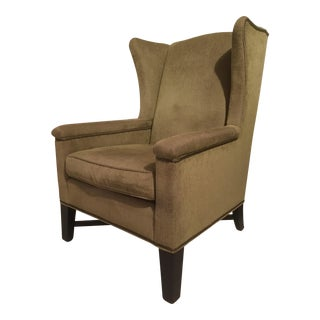 Modern Green Upholstered Wingback Chair For Sale