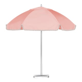 Copacabana Pink 9' Patio Umbrella, Light Pink with Flax Fringe For Sale