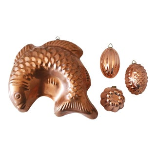 Vintage Copper Kitchen Molds - Set of 4